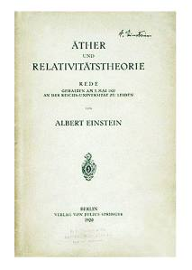 Éter e a teoria da relatividade, de 1920
