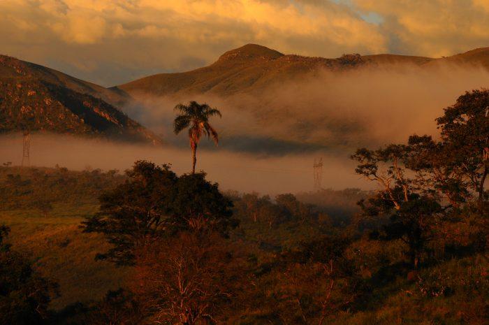 Amanhecer em vale na Serra da Canastra. Neblina é uma importante fonte de água para plantas em campos rupestres