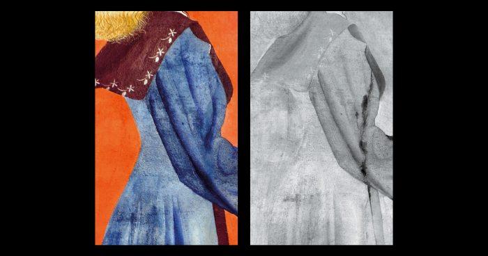 Com rosto inspirado na mulher do pintor, Maria Martinelli, a santa passou por vários retoques antes de ganhar sua forma final. Sua cintura era mais larga, como indica a seta na imagem em infravermelho (<em>acima à dir.</em>) que revela o esboço inicial de Portinari