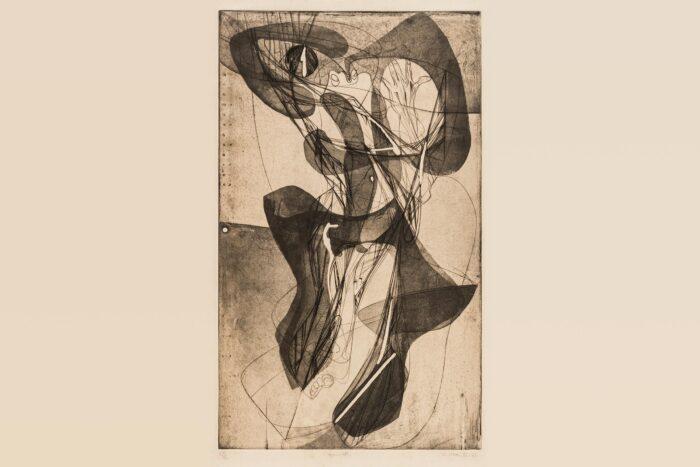 """O britânico Stanley William Hayter (1901-1988) fundou o Atelier 17 em Paris, em 1927, mas em 1940, após a invasão da França pelos nazistas alemães, se mudou para Nova York. """"Tarantelle"""" é um dos seus trabalhos mais famosos.  <p>Stanley William Hayter <p>Londres, England, 1901 - Paris, France, 1988 <p><em>Tarantelle (Tarantela)</em>, 1943 <p>verniz mole e buril em cores sobre papel (tiragem: 27/50) <p>Coleção MAC-USP <p>© Hayter, Stanley William / AUTVIS, Brasil, 2019 <p>Foto: Ding Musa"""