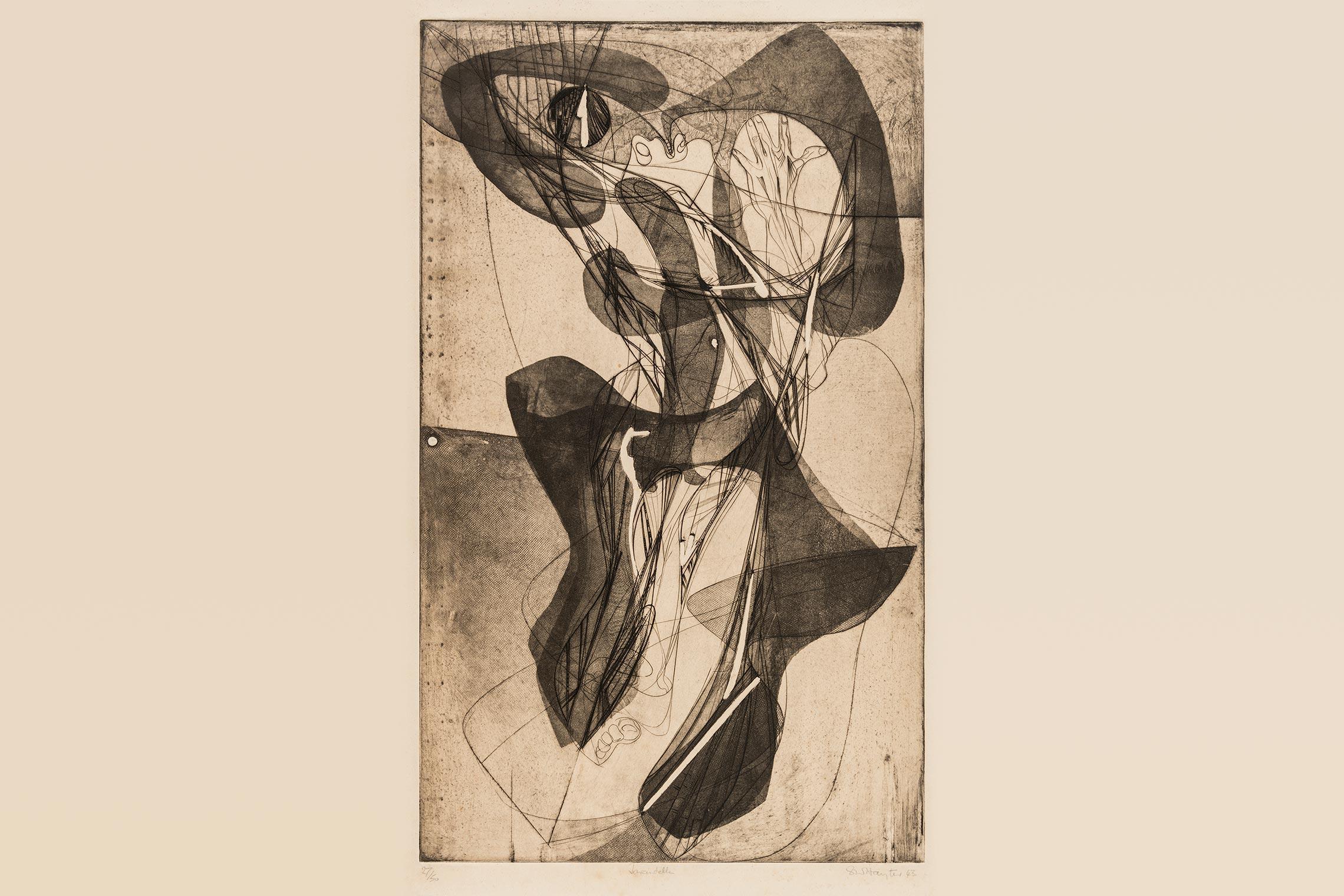 O britânico Stanley William Hayter (1901-1988) fundou o Atelier 17 em Paris, em 1927, mas em 1940, após a invasão da França pelos nazistas alemães, se mudou para Nova York.