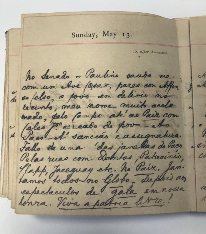 Los diarios de Joaquim Nabuco recientemente donados a la Fundaj, en Recife, contienen relatos sobre el día de la abolición de la esclavitud