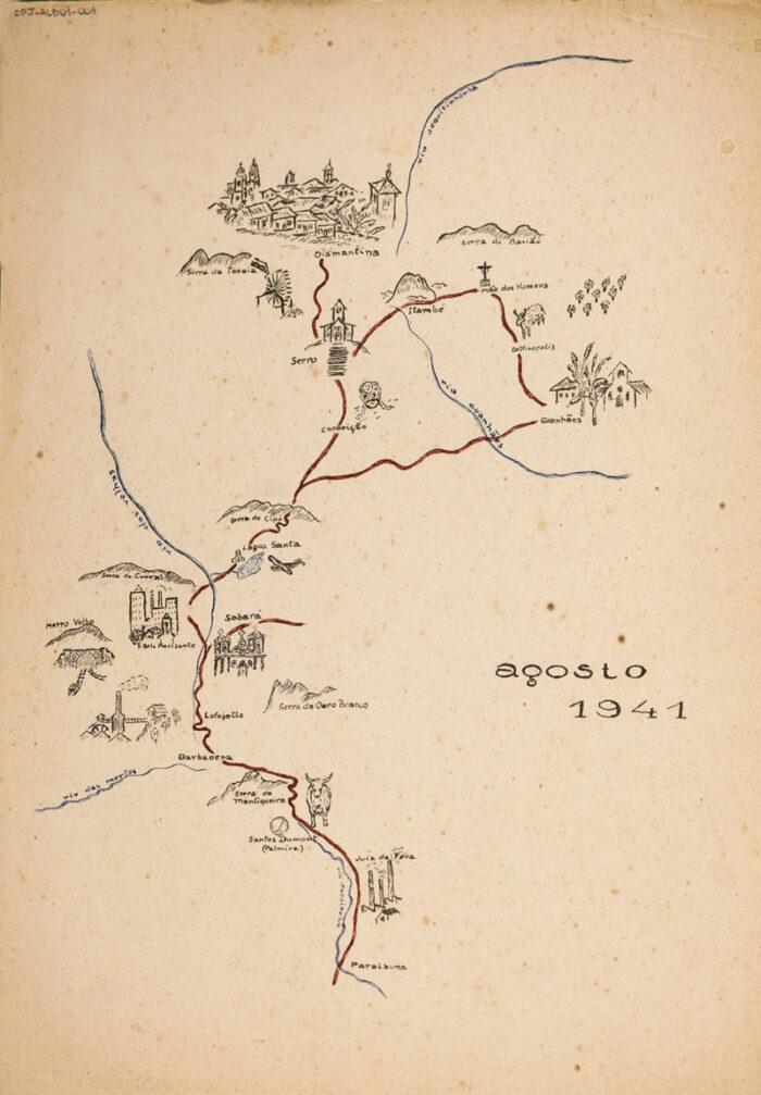 Mapa elaborado por el historiador y geógrafo Caio Prado Júnior en viaje a Minas Gerais