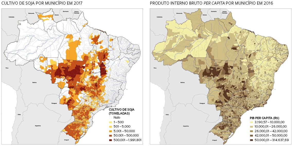 Mapas resultantes do projeto de pesquisa sobre ordenamento territorial no Brasil coordenado por Ross