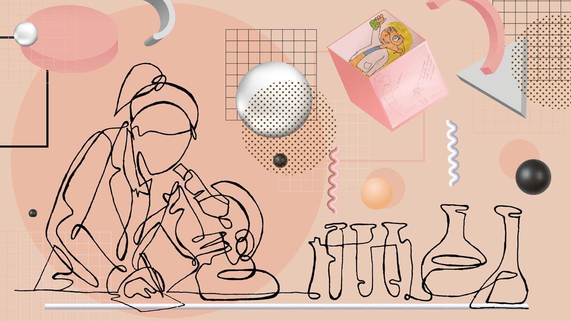 Em desenhos, participantes passaram a representar as mulheres como cientistas. Crédito: Julia Cherem / Freepik / Equipe Menina Ciência - Ciência Menina UFABC  Reajustes na pandemia