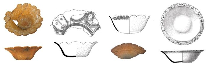 Um traço comum de cerâmicas koriabo encontradas em Almeirim, no Pará...
